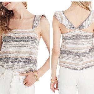 Madewell Texture & Thread Stripe Ruffle Strap Top